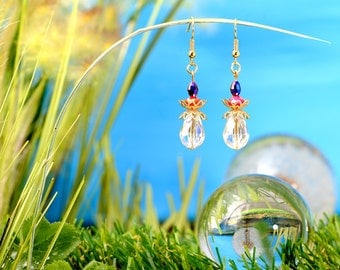 Fairies Dewdrops - earrings / / polished glass beads, faceted beads / drops / transparent / red / dark blue / brass / gold