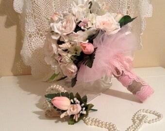 FREE SHIPPING Wedding Bouquet,Boutonniere, Bridesmaid Bouquet, Silk Flower Bouquet, Rose Bouquet, Pink Bouquet, Beach Bouquet