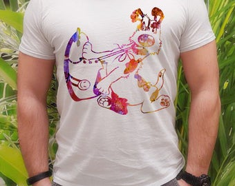 Dog t-shirt - Dog and shoe tee - Fashion men's apparel - Colorful printed tee - Gift Idea