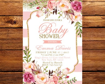 Floral Baby Shower Invitation, DIY Printed Baby Shower Invitation, Gender Neutral Florals and Stripes Printable,Baby Shower Invite 191