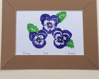 Pansies hand cut Lino print