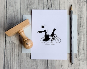 Wedding stamp can be personalised, individual, tandem wooden stamps, stamps to the wedding, bicycle, wedding couple, wedding couple, two people