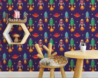 Outer space kids removable wallpaper / cute self adhesive wallpaper / children's spaceship temporary wallpaper K125-27
