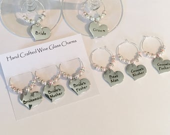 8x Wedding Top Table Wine Glass Charms