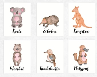 Australian Animals Art Printables | Set of 6 | Koala | Platypus | Kangaroo Print | Wombat Art | Echidna | Nursery | Watercolor | Baby