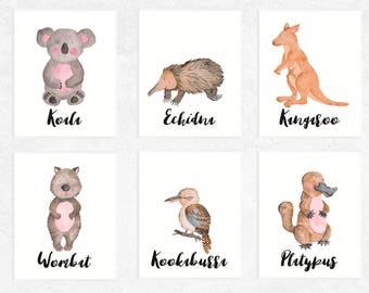 Australian Animals Art Printables   Set of 6   Koala   Platypus   Kangaroo Print   Wombat Art   Echidna   Nursery   Watercolor   Baby