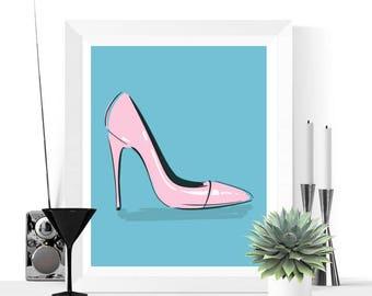 50% OFF Sale - Shoe Art | Pop Art Shoes Art Printable | Blue and Pink | Pop Art | Contemporary Art | High Heels | Art Print | Art Printable