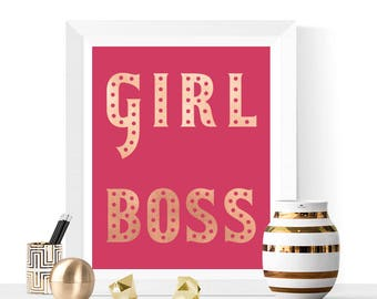 Girl Boss Printable | Pink and Rose Gold | Inspirational Quote | Girls Bedroom Art | Girl Boss Prints | Typographic Print