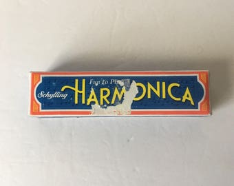 Vintage Schylling Harmonica Rowly, MA-- 16 Hole/Green Sides with Original Box Made In China - Shanghai