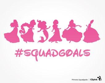 Princess squad goals svg, Disney squad goals clipart, Ariel squad goals svg silhouette, svg, eps, png, dxf, pdf. Cut Print Mug Shirt Decal