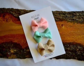 CHOOSE 3- Any color- Set of 3- Classic Felt Bows