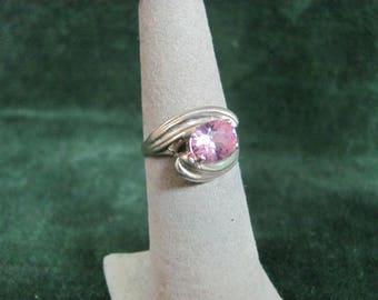 Oval Cut Pink Gemstone Sterling Estate Ring