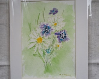 Daisies and Cornflowers.  An original watercolour by L C Martin.