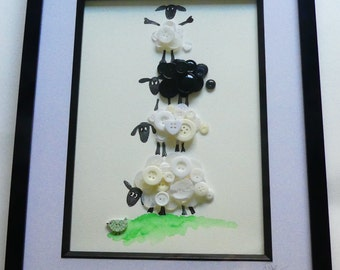 SHEEP  WATERCOLOUR/BUTTONART ....cute ...ideal for childs room