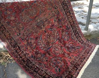 """4'5"""" x 6'7"""" Antique Persian Crimson Sarouk Rug, Circa 1900"""