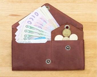 Leather women wallet, purse wallet 1.0. Cognac brown colour