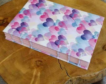 Heart Design Hand Bound Notebook