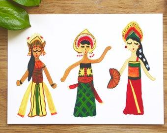 Balinese Dancers Art Print, Balinese Dance, Tradional Dance, Bali Culture