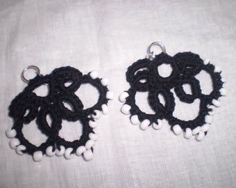Tatted bead earring