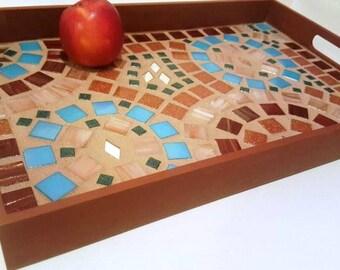 Decorative Mosaic Tile Serving Tray, Large (mosaic art, decorative tray, platter)
