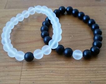 Distance/Relationship Beaded Bracelets, 2 Piece Set,  Friendship Bracelets, Ying and Yang, Matching Pair, Couples Bracelets, 8mm Beads
