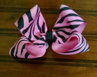 Hairbow - small pink zebra