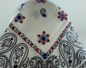 White Bandana with red white and blue bling