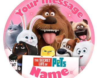 """The Secret Life of Pets  Inspired - Personalised Edible Cake Topper. Print on icing 7.5"""" - PINK"""