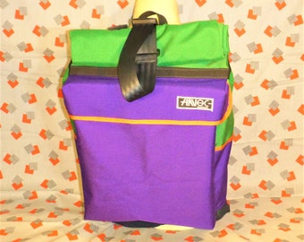 Small handmade rolltop messenger backpack (purple and green)