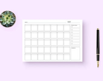 Bullet Journal Blank Calendar Customizable with Monthly Goals, Look-Ahead, Overview and Monthly Mantra (PDF Download Printable)
