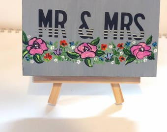 Mr. And Mrs. Hand painted wood plaque