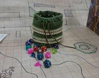 Earthen Stripes Crocheted Dice Bag