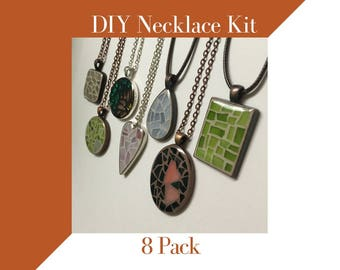 Do it yourself Jewelry Making Kit, DIY gift for women, Glass Mosaic Necklace Craft Kit 8-pack, Jewelry Mosaic Making Necklace Kit, DIY gift