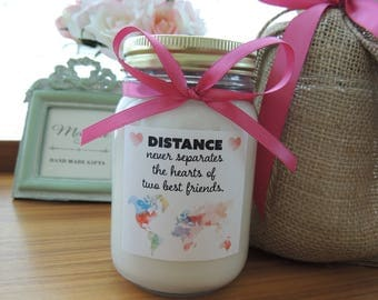 Custom Soy Candle//Vibrant Custom Label//Matching Satin Ribbon//Personalized Gifts for Best Friend//BFF Gift