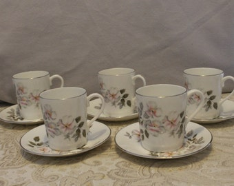 Royal Adderley, Silver Rose pattern Coffee Cup and Saucer x 5