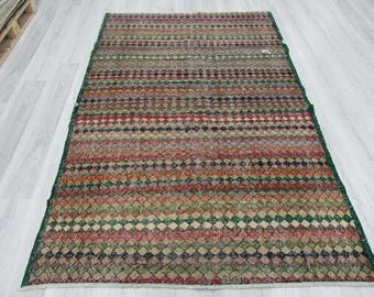 5' 2''x8' 1'' Hand knotted vintage decorative colourful Turkish art deco rug
