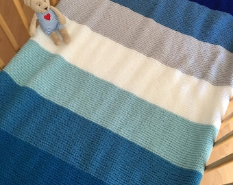Cot/Cot bed multi coloured knitted blanket