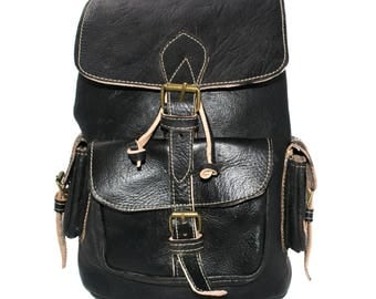 Rustic Leather Rucksack Black