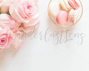Blush roses and pink and white macaroons styled stock desktop
