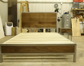 Modern Steel and Black Walnut Bed