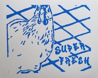 Linocut Chicken Print (Royal)