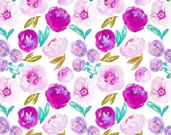 Poppy Bloom White Baby Blanket, Baby Girl Blanket, Baby Minky Blanket, Floral Baby Blanket, Soft Blanket
