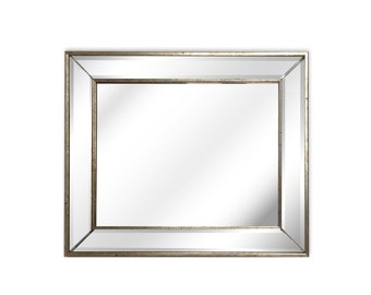 Faceted and aged silver rectangle mirror