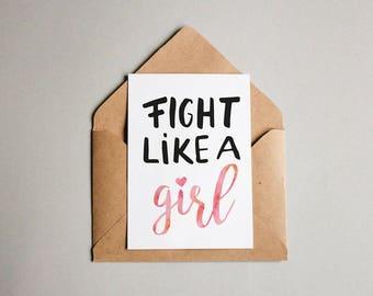 Fight Like A Girl Postcard | feminist postcard, feminism, girl power, feminist quote, girls fight better, feminist gift, grrrl power