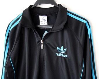 Vintage Adidas Trefoil Track Jacket Hip Hop Streetwear Rare Adidas Windbreaker M Size Adidas Sweatshirt European Model Black Adidas Sweater
