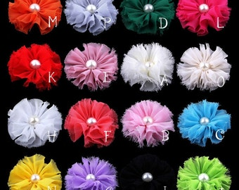 "3"" 16colors Chic Shabby Chiffon Flowers With Pearl For Hair Accessories Fluffy Frayed Fabric Flowers For Headbands For Hair Clips"