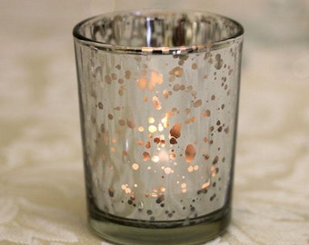 Silver Tea Light Holder Mercury Glass Candle Votive Vintage Wedding Decoration