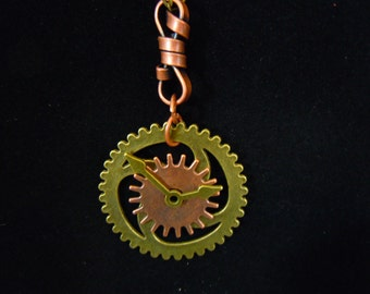 Steam Hand Necklace- gears, pendant, copper, antiqued gold