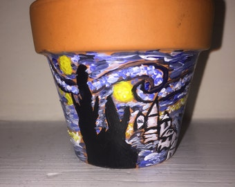 """Vincent Van Gogh's 2 inch  """"Starry night"""" , hand painted pot"""