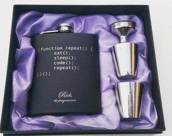 Eat Sleep Code Repeat Programmer// Gift for Him // Funny Flask // Hip Flask for Men // 21st Birthday Gift // 7 oz